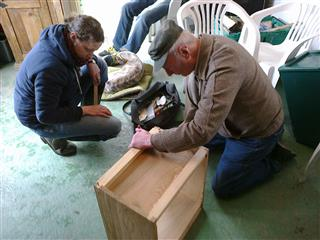 Even after we took the workbench away Geoff couldn't resist reassembling a 14 x 12 brood box.