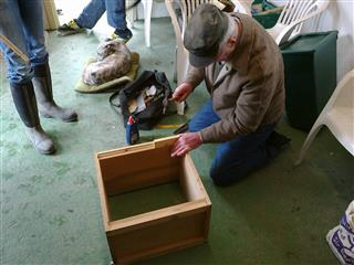 Geoff reassembling a 14 x 12 brood box.
